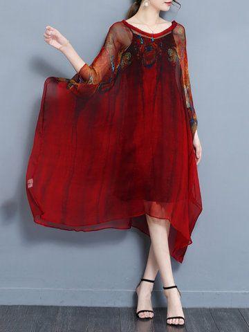 Vintage Printed Batwing Sleeve Irregular Hem Two Pieces Dresses For Women