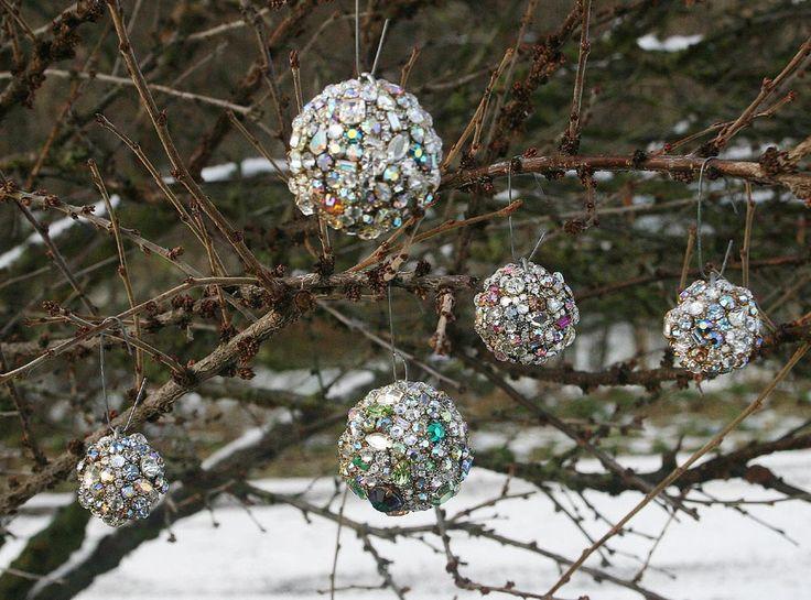 Vintage Rhinestones Ball Orb Sphere Ornament by ASoulfulJourney