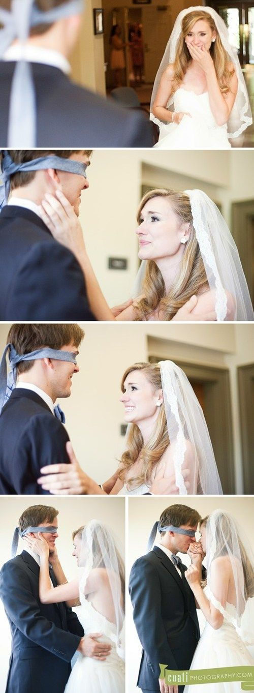 Such a cute pre-wedding photo idea! Because technically it's the groom that can't see the bride before the ceremony!