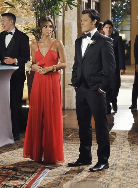 """Emma's and Sutton's BCBG Hall Evening Gown in Ruby Red The Lying Game Season 2, Episode 6: """"Catch Her in a Lie"""""""