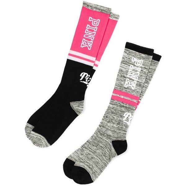 Victoria's Secret PINK Knee High Sock 2 Pairs Neon Hot Pink/Marl ($33) ❤ liked on Polyvore featuring intimates, hosiery, socks, knee socks, marled socks, knee-high socks, neon knee high socks and knee hi socks