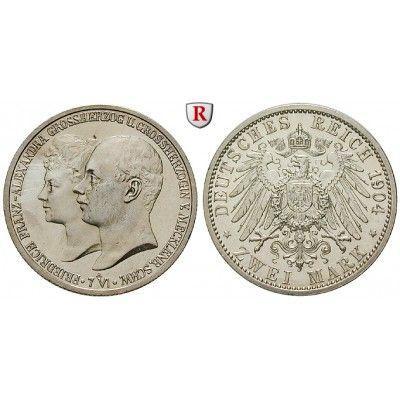 Deutsches Kaiserreich, Mecklenburg-Schwerin, Friedrich Franz IV., 2 Mark 1904, Hochzeit, A, vz aus PP, J. 86: Friedrich Franz IV.… #coins