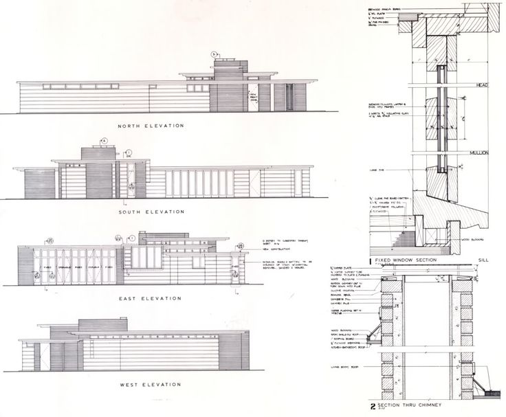 Elevations And Wall Section Herbert Jacobs House I