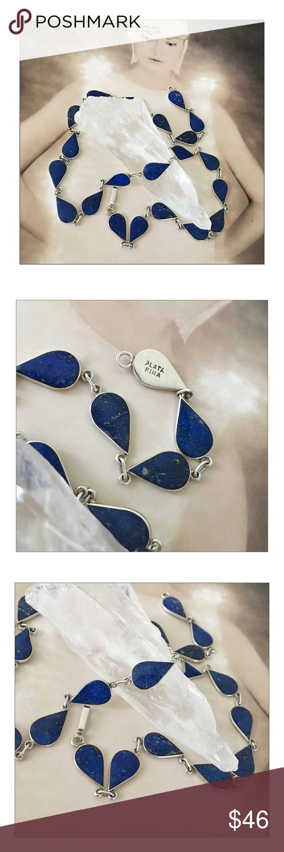 "✨Vintage Fine Sterling Silver Lapis Necklace✨ ✨Vintage Fine Sterling Silver Lapis Necklace✨Gorgeous Lapis Lazuli Teardrops Necklace Marked ""Plata Fina"" {Fine Silver}✨Approximately 19"" Long✨All The Teardrops Display Beautiful, Intact Lapis Stone✨Read About The Healing Properties Of Lapis In The Comments✨ Vintage Jewelry Necklaces"