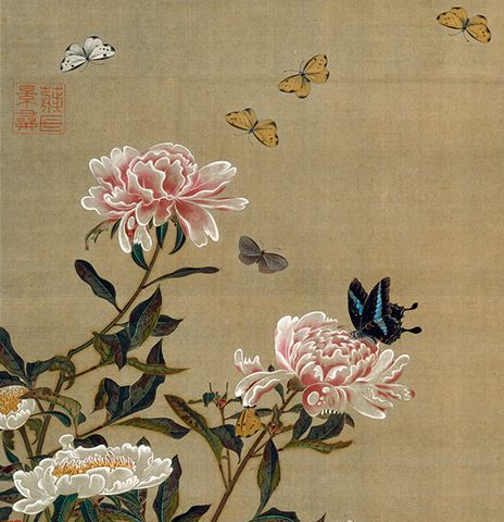 "Peonies and Butterflies | Tattoo Ideas & Inspiration - Japanese Art | Ito Jakuchu - Peonies and Butterflies, from ""Colorful Realm of Living Beings"" (detail) 