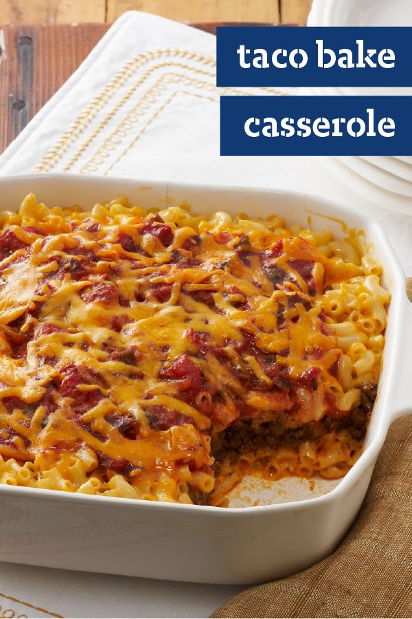 Taco Bake Casserole – Find a casserole recipe that wows with this Taco Bake Casserole dish! Mac and cheese and traditional taco ingredients are the perfect pair on your dinner table.