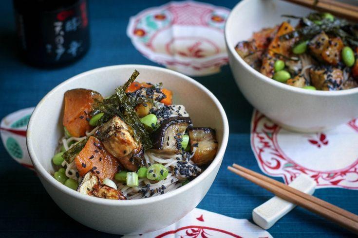 Miso Roasted Eggplant, Pumpkin and Soba Salad