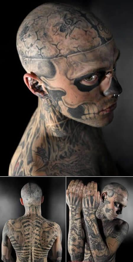 Meet Rick. He's turning himself into a zombie. So far, more than 24 hours of tattoos --costing over $4,075 Canadian dollars-- have got him halfway there and made him a minor celebrity on the internet, where people can't decide if he's a body modification visionary or mentally ill sicko.