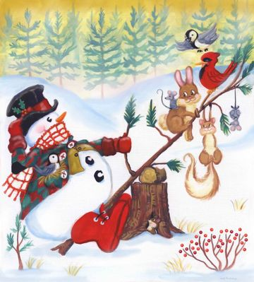 Up's and Down's of Winter by Joseph Holodook ~ snowman bunny squirrel birds mice