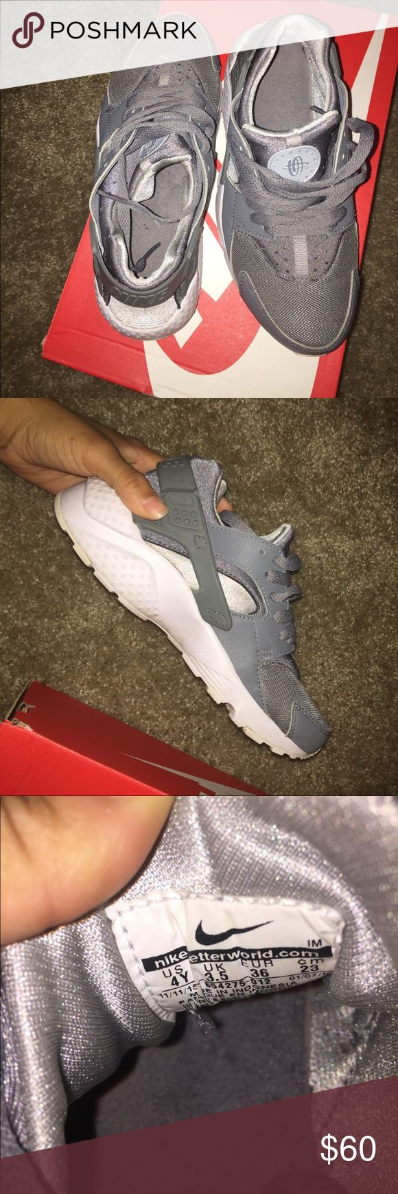 Grey Nike Huaraches Barely Worn ! Have only worn the shoe 2 times . Originally bought for $90 selling for $60 Nike Shoes Sneakers