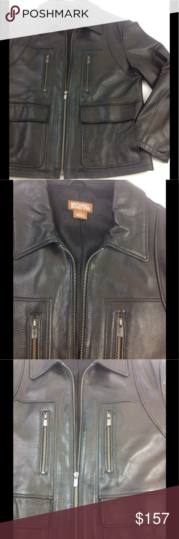 Michael Kors Genuine Black 100% Leather Jacket L Excellent Pre Owned Michael Kors Genuine Black 100% Leather Jacket L, make offers its priced to sell, no low balls, no email, no txt, no trades Michael Kors Jackets & Coats