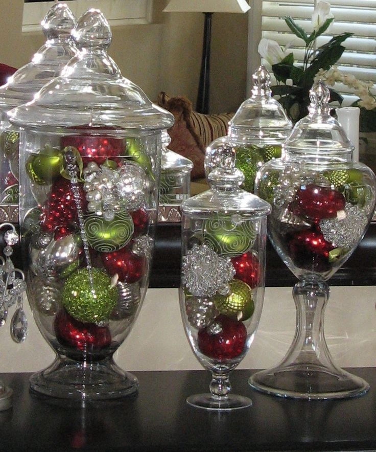 Christmas Ornaments (Colored balls, Christmas lights) Pine cones (with glitter spray)