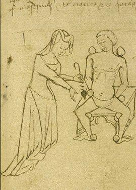 Doctora medieval. Dibujo del siglo XV. British Library.