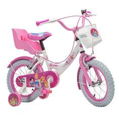 Ride in style with this new 14 Inch Disney Princess Bike. With a colourful Disney Princess design and removable stabilisers this Disney Princess bike makes cycling an unforgettable experience. The pretty steel mudguards protect the rider from splashing water and mud.
