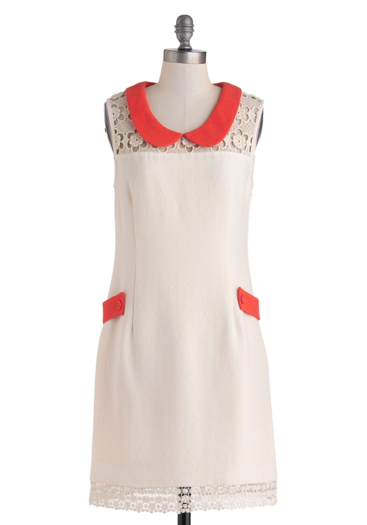 Dare You to Groove Dress - Cream, Red, Crochet, Peter Pan Collar, Pockets, Party, Sheath / Shift, Sleeveless, Collared, Spring