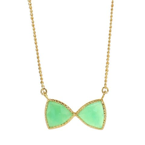 MINI FREEDOM BOW TIE NECKLACE - CHRYSOPRASE & GOLD | Buy So Pretty Jewelry Online & In Stores