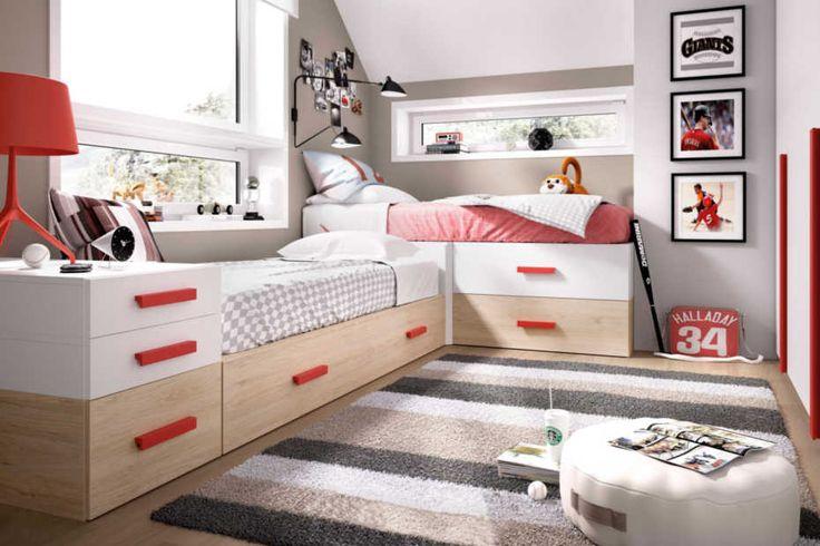 Conjunto de 2 camas en l para colchones de 90x190cm mide for Somier con almacenaje
