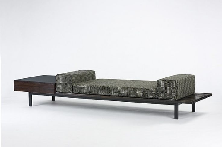 CHARLOTTE PERRIAND Mauritania bench with drawer Editions Steph Simon France, 1958 oak, enameled steel, laminated wood 102 w x 27.5 d x 14 h inches