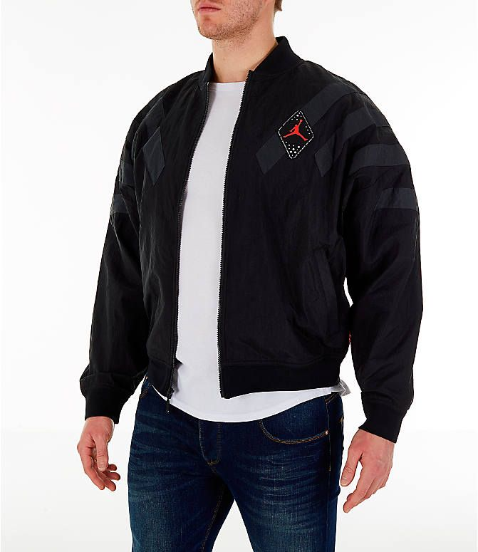 0344d412506 Front Three Quarter view of Men's Air Jordan Retro 6 Legacy Nylon Jacket in  Black