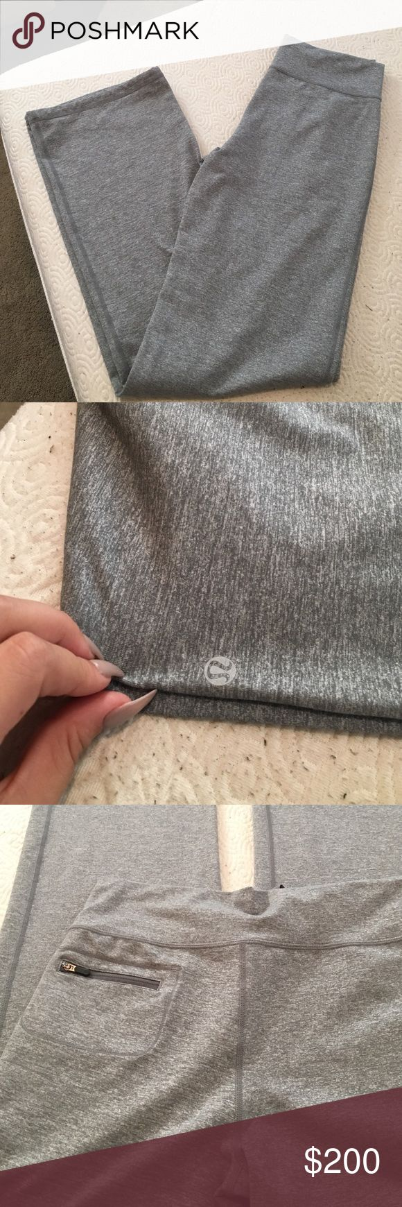 Gray LuluLemon Long Bootcut Leggings ✨ They are long enough for me and I'm 5'11 😊 super comfy and stretchy, worn once.. Once again I am only putting the price is really high to see what reasonable offers I would get💕 lululemon athletica Pants Leggings