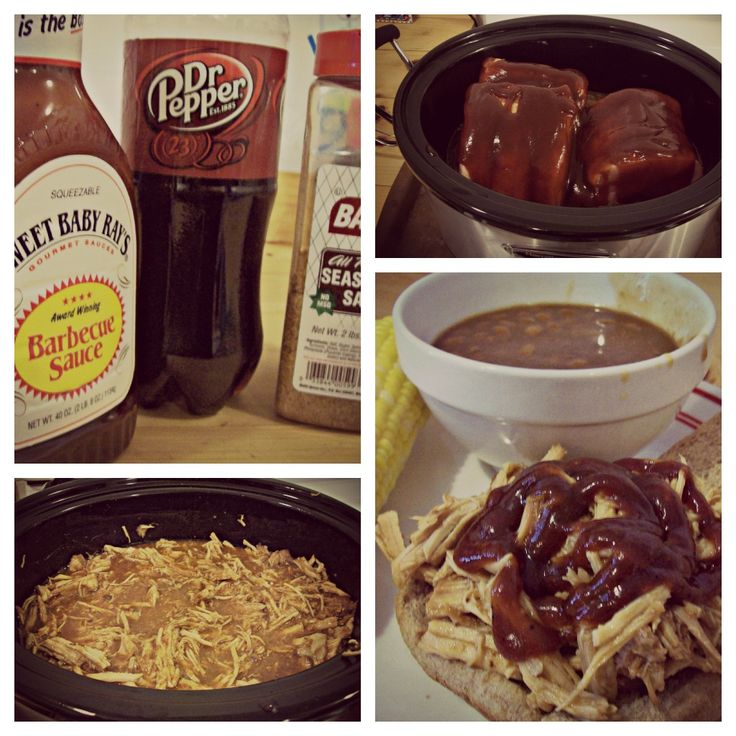 BBQ Pulled Pork - easy crockpot recipe. I see Dr. Pepper and you know its gotta be good.