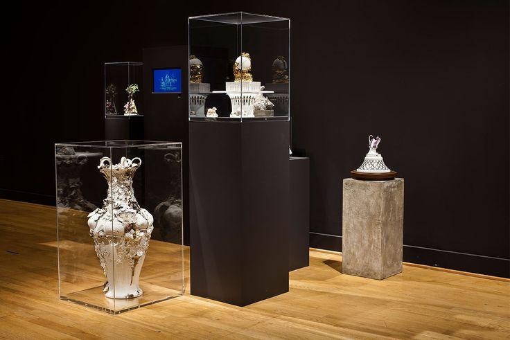 "Arlene Shechet, Installation view, ""Meissen Recast,"" solo exhibition at RISD Museum, Providence, RI, 2014"