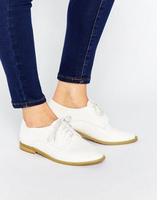 Lost Ink Hannah White Lace Up Flat Shoes
