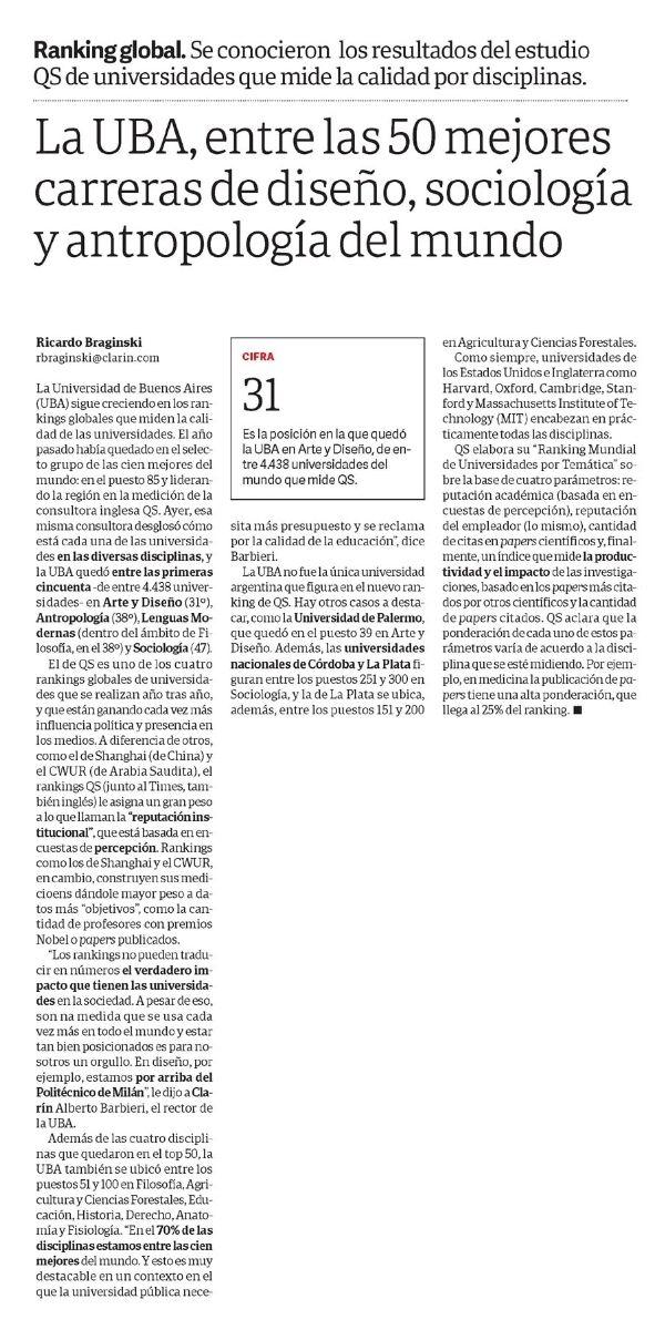 La UBA, entre las 50 mejores carreras de diseño, sociología y antropología del mundo   Síntesis de Prensa Nacional