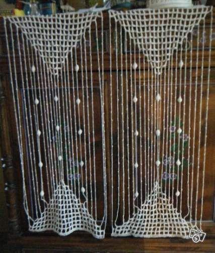 2 rideaux anciens au crochet genre macram 42x105 d coration pas de calais 35. Black Bedroom Furniture Sets. Home Design Ideas
