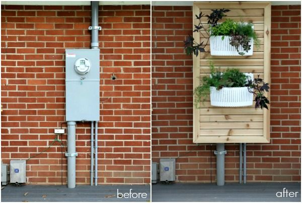 Slatted Panel With Planters Hide Electric Meter Make The