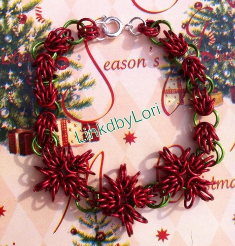Poinsettia Blooms Scherzo Chainmail Bracelet | Linkdbylori - Jewelry on ArtFireHandmade Jewelry Bracelets, Chainmail Jewelry, Scherzo Chainmail, Artfir, Chainmaille Bracelets, Chainmail Bracelets, Bloom Scherzo, Poinsettia Bloom, Chainmaille Jewelry