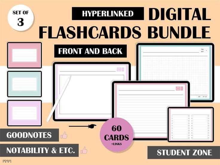 Digital flashcards bundle exam study cards for student