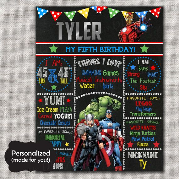 Superhero Birthday Sign,Avengers Chalkboard Printable Sign,Any Size,Personalized birthday sign,Photo prop,Birthday party sign,DPP49