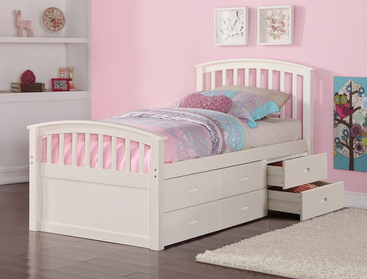 Maximize your space with our Twin Beds for Girls with 6 Underbed Storage Drawers. The 100-percent solid pine construction and simple, but refined design make this captains bed a wonderful addition to