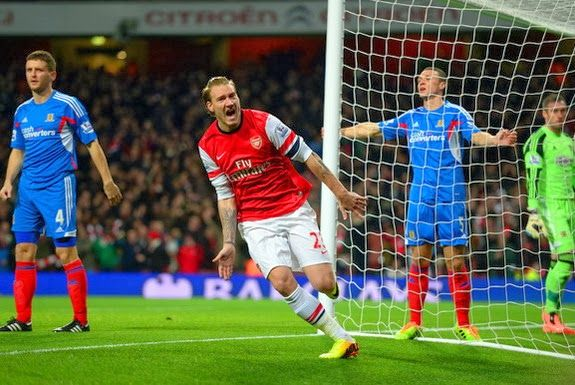 Nicklas Bendtner scores first Arsenal goal after almost THREE years