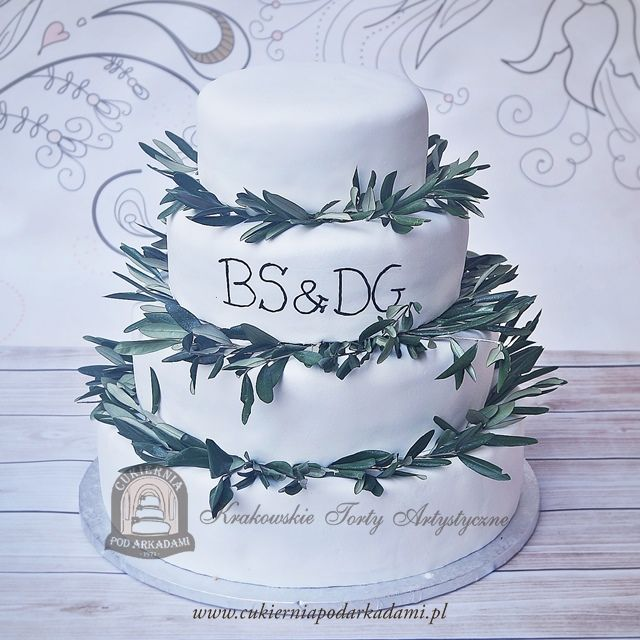 8BW. Tort z gałązkami oliwnymi w rustykalnym stylu. Rustic wedding cake with olive branches.