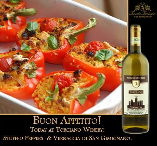 Stuffed peppers paired with our #Vernaccia #Poggioaicieli #SanGimignano ... delicious!