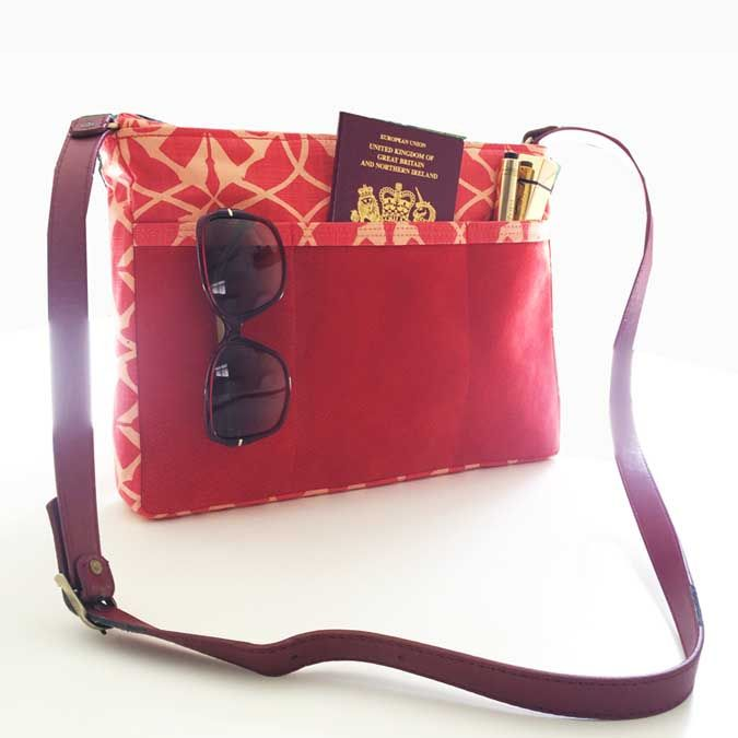 SQ Travel Companion in Coral red Suede leather & a SQ print in Orange blossom   www.suziequ.co.uk