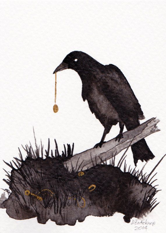 Raven and Locket - ACEO - Original Art Card Illustration available on Etsy