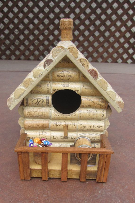 Wine Cork Birdhouse Handmade by PlayOnWoods on Etsy