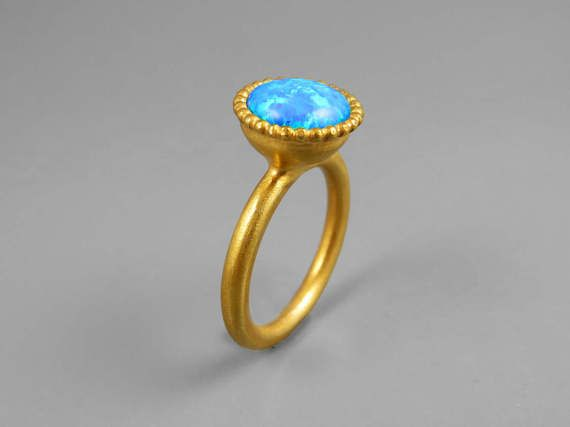 Fire Opal Ring, Rainbow Opal Ring, Opal Ring, Solitaire Ring, Gold Opal Ring, Women's Stone Ring, Birthstone Anniversary Ring, Opal Jewelry