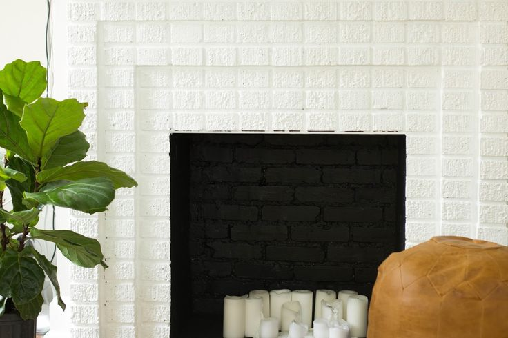 White Brick Fireplace with candles