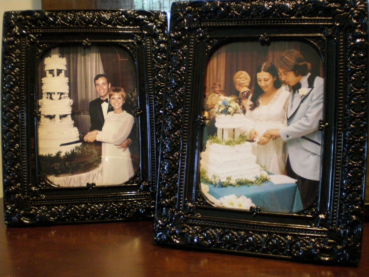 Fun idea to place on cake table pictures of parents and their wedding cakes.