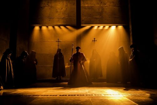 Wolf Hall at the Winter Garden Theatre. scenic and costume designer Christopher Oram and sound designer Nick Powell. lighting by Paul Constable and David Plater. more photos: http://livedesignonline.com/theatre/wolf-hall-parts-one-and-two