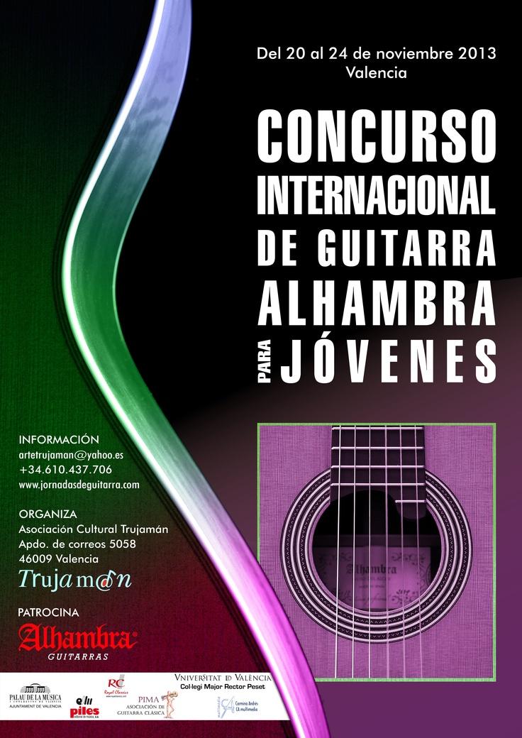 Cartel realizado por Carmina Andrés para el Concurso Internacional de Guitarra Alhambra para Jóvenes. #carminandres #cartel #guitarra #jornadasdeguitarra