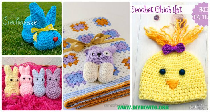 Crochet Kids Easter Gifts Free Patterns: Crochet Easter Blankets, Bunny hat, chick hat, bunny toy, slippers for babies and kids via @diyhowto