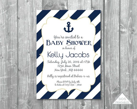 Navy Anchor Baby Shower Invitation Nautical Baby by SOSPrintables