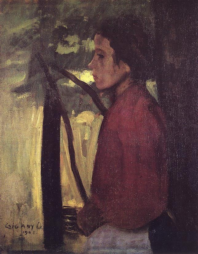 Czigány Dezső: Leányarckép (Merengő) 1903    Dezső Czigány: Portrait of a girl (Lost in thoughts) 1903