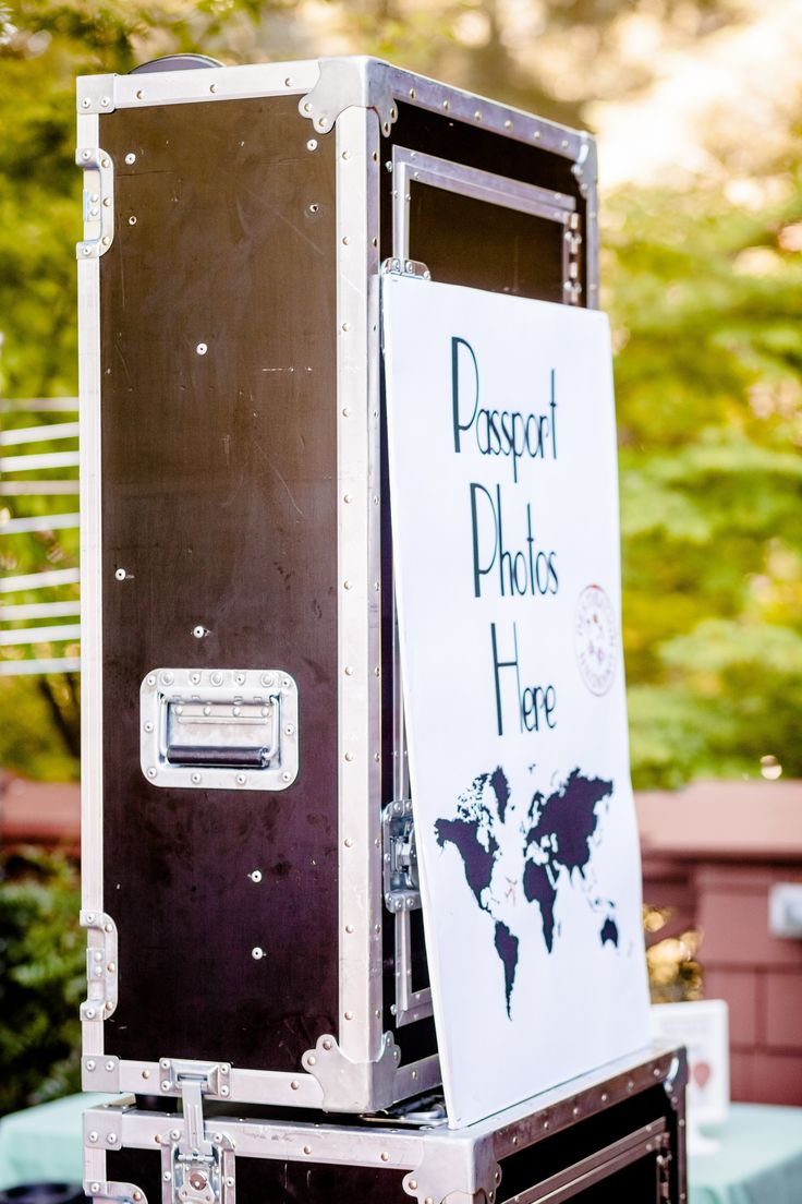 Travel theme wedding photobooth. Travel inspired wedding booth passport photos here sign.