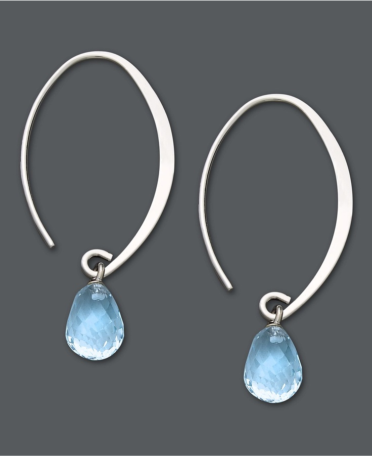 Let delicate blue hues frame your face. These subtly sweeping hoop earrings feature briolette drops of blue topaz (4 ct. t.w.) for a light splash of color. Set in 14k white gold. Approximate drop: 1-1